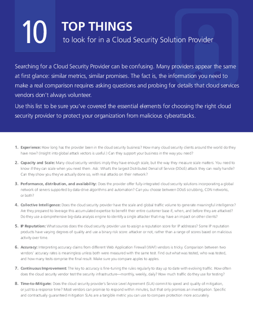 10 Top Things to Look for in a Cloud Security Solution Provider