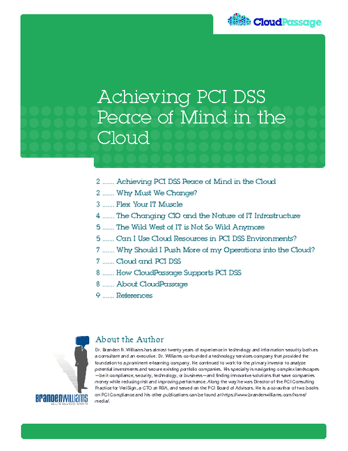 Achieving PCI DSS Peace of Mind In The Cloud