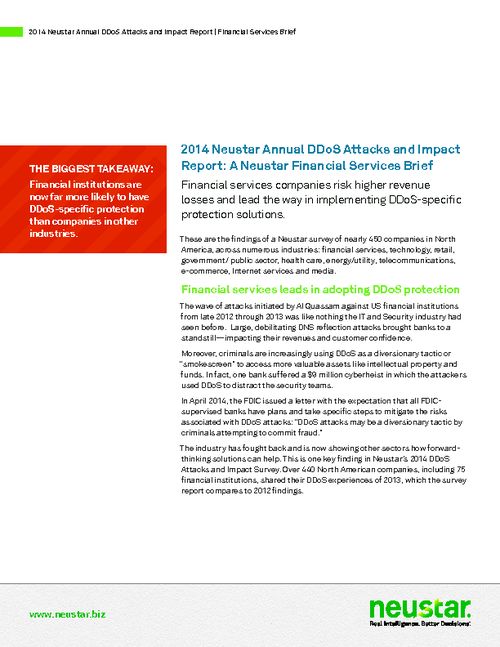 Annual DDoS Attacks and Impact Report: Financial Services Brief