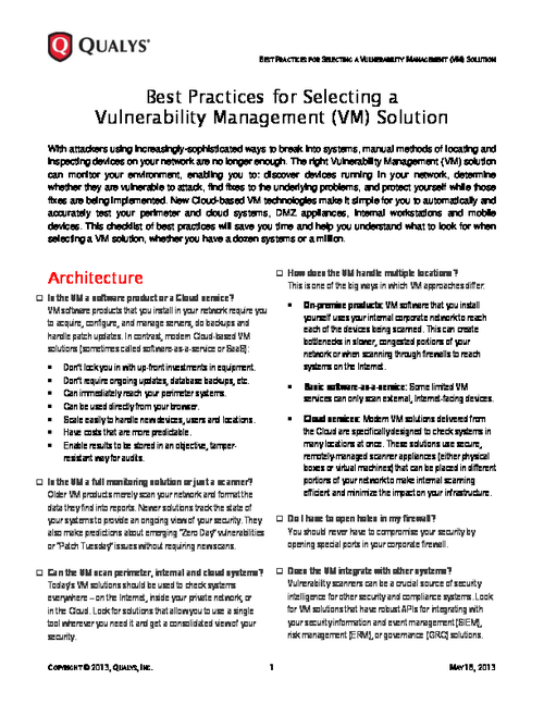 Best Practices for Selecting a Vulnerability Management Solution