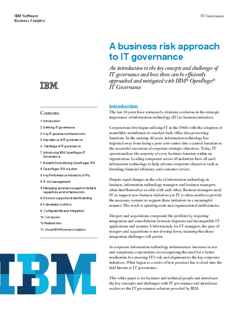 A Business Risk Approach to IT Governance