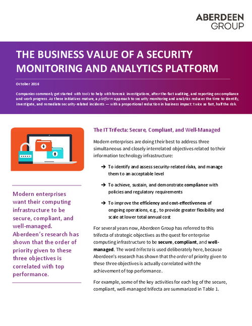 The Business Value of an IT Security Analytics Platform