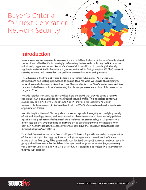 Buyer's Criteria for Next-Generation Network Security