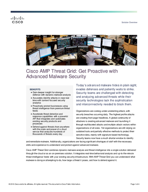 Cisco AMP Threat Grid: Get Proactive with Advanced Malware Security
