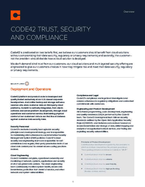 Code42 Trust, Security, and Compliance