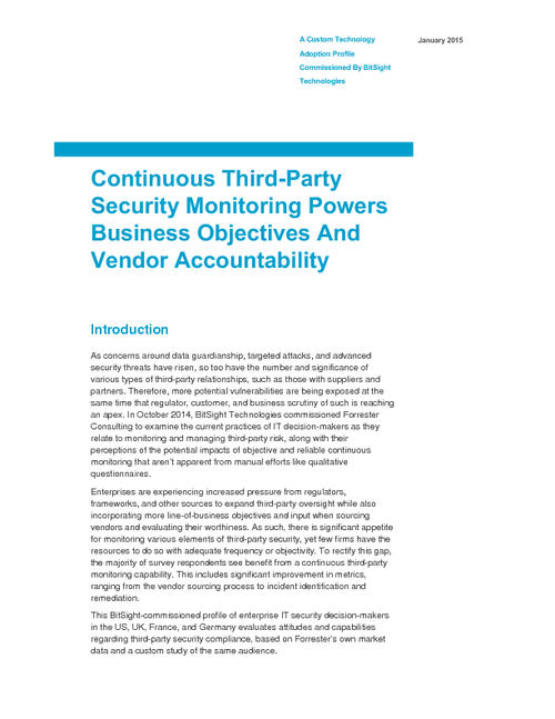 Continuous Third Party Security Monitoring: Forrester Report