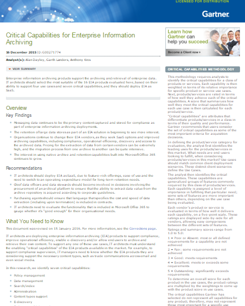 Critical Capabilities for Enterprise Information Archiving