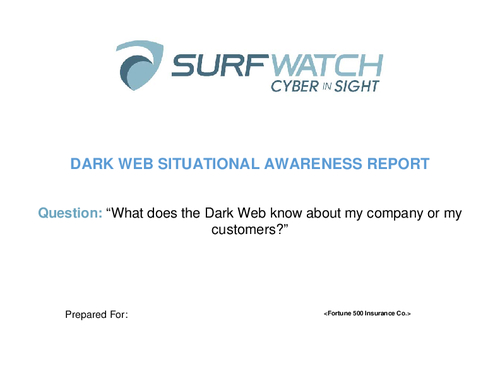 Dark Web Situational Awareness Report