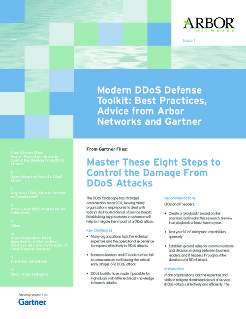 DDoS Defense Toolkit from Arbor Networks featuring Gartner
