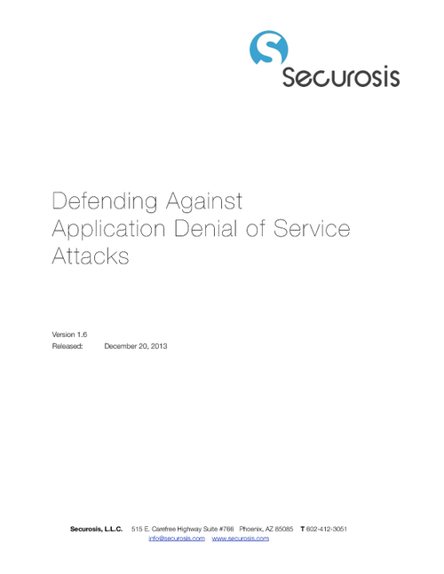 Securosis Research Paper:  Defending Against Application Denial of Service Attacks