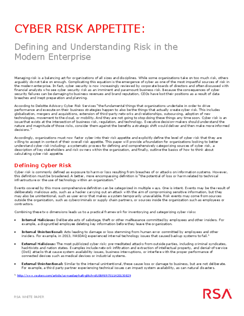 Defining and Understanding Risk in the Modern Enterprise