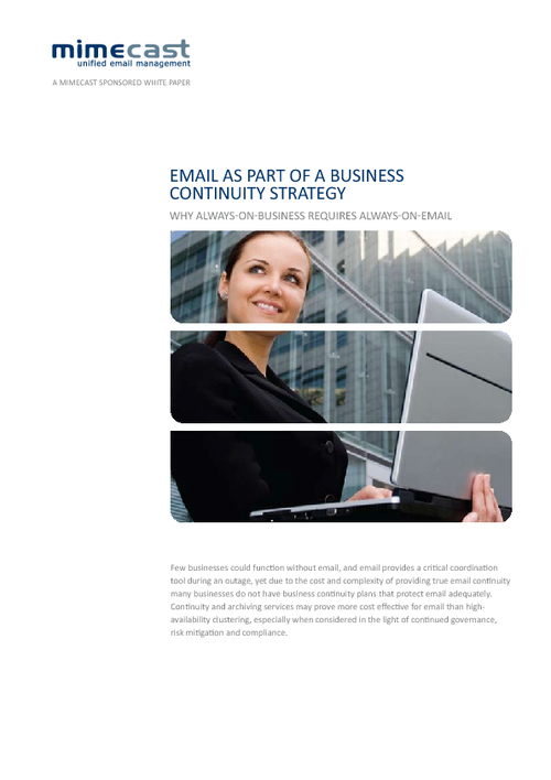 Email as Part of a Business Continuity Strategy: Why Always-on-Business Requires Always-on-Email