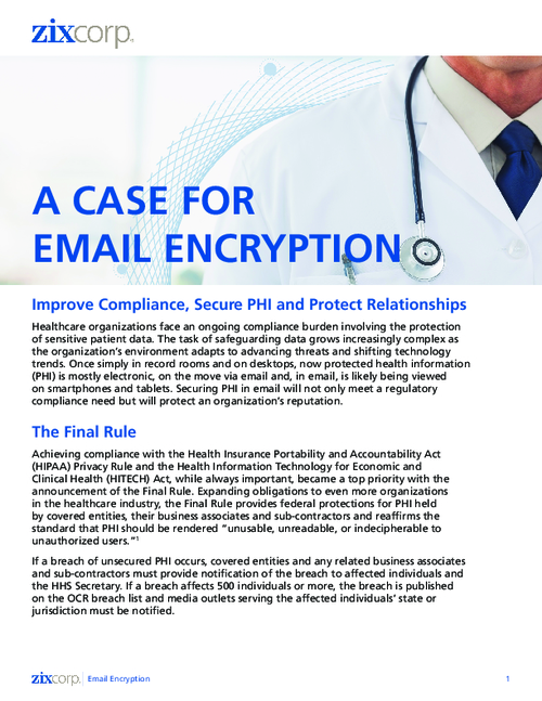 Email Encryption for Healthcare: Improve HIPAA/HITECH Compliance and Secure PHI