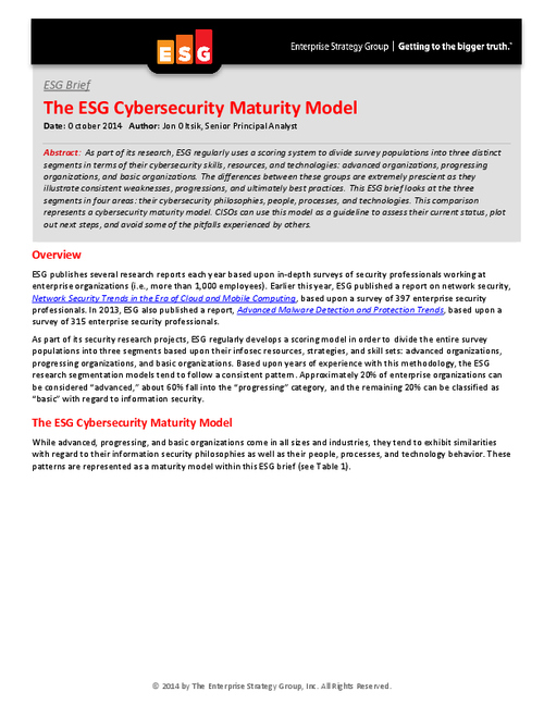 ESG Brief: The ESG Cybersecurity Maturity Model