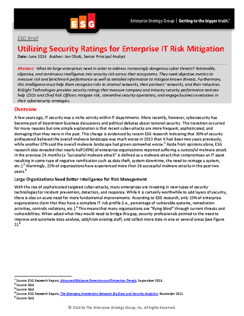 ESG Brief: Utilizing Security Ratings for Enterprise IT Risk Mitigation