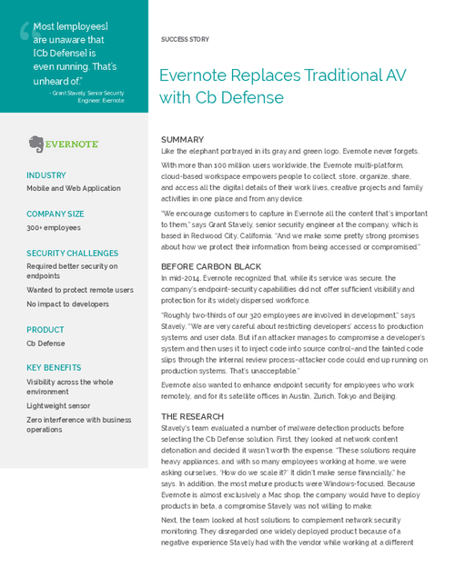 Evernote Replaces Traditional AV with Cb Defense