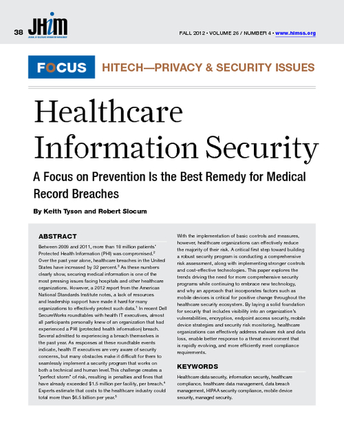 A Focus on Prevention is the Best Remedy for Medical Record Breaches