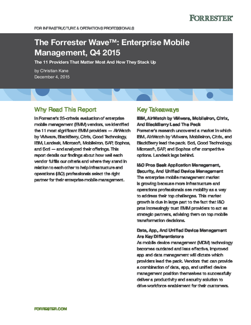 The Forrester Wave: Enterprise Mobile Management, Q4 2015