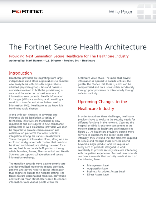 Fortinet Secures Next Generation Healthcare