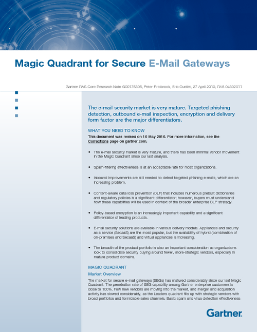 Gartner Magic Quadrant for Secure Email Gateway
