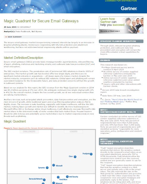 Gartner Magic Quadrant for Secure Email Gateways, 2015
