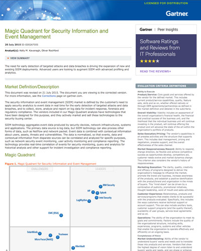 Gartner Magic Quadrant for Security Information and Event Management