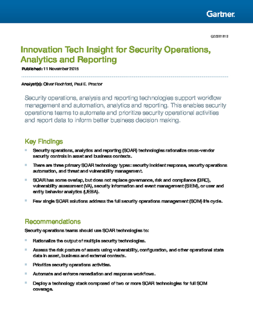 Gartner Report: Innovation Tech Insight for Security Operations, Analytics and Reporting