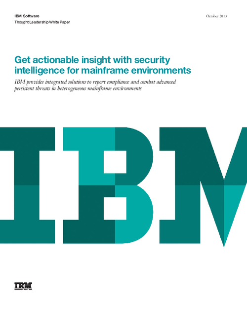 Get actionable insight with security intelligence for mainframe environments