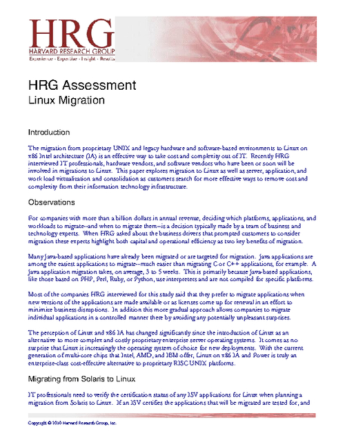 Harvard Research Group Assessment: Linux Migration