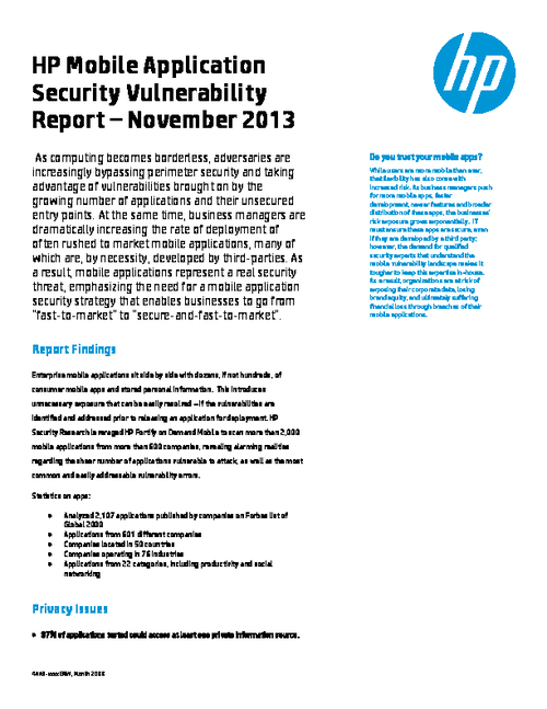 HP Mobile Application Security Vulnerability Report - November 2013