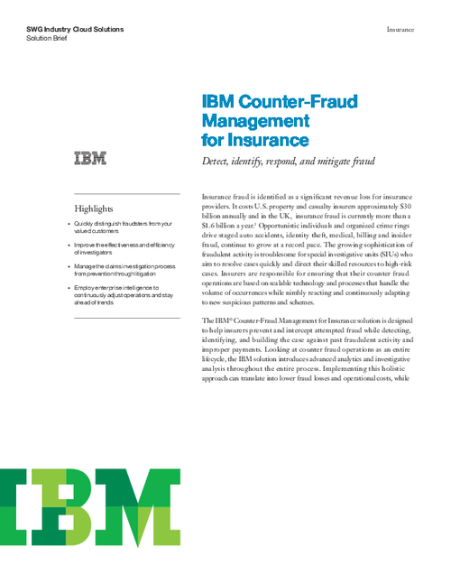 IBM Counter-Fraud Management for Insurance