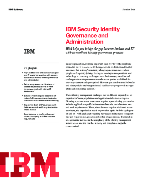IBM Security Identity Governance and Administration