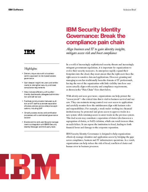 IBM Security Identity Governance: Break the compliance pain chain