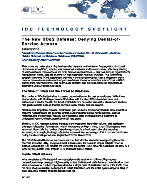 IDC Technology Spotlight: The New DDoS Defense: Denying Denial-of-Service Attacks