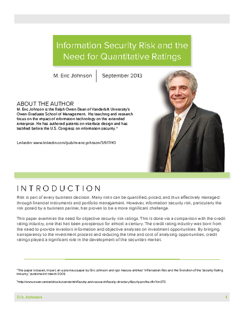 Information Security Risk and the Need for Quantitative Ratings