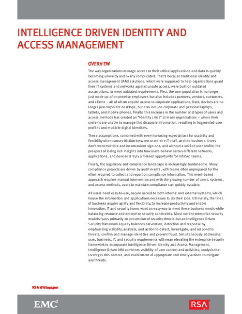 Intelligence Driven Identity and Access Management