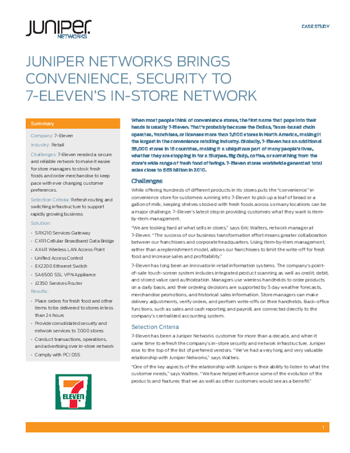 Juniper Networks Brings Convenience, Security to 7-Eleven's In-Store Network