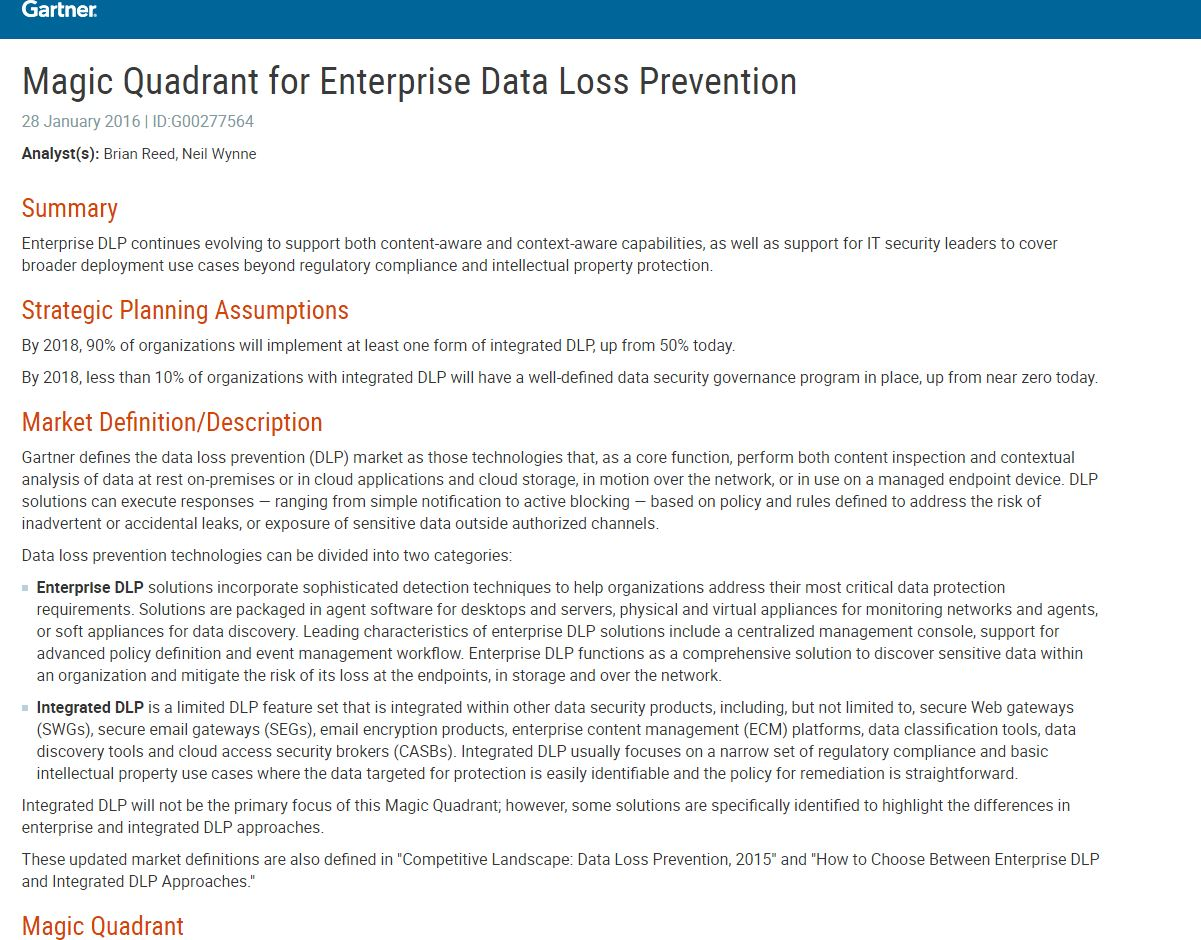 Magic Quadrant for Enterprise Data Loss Prevention