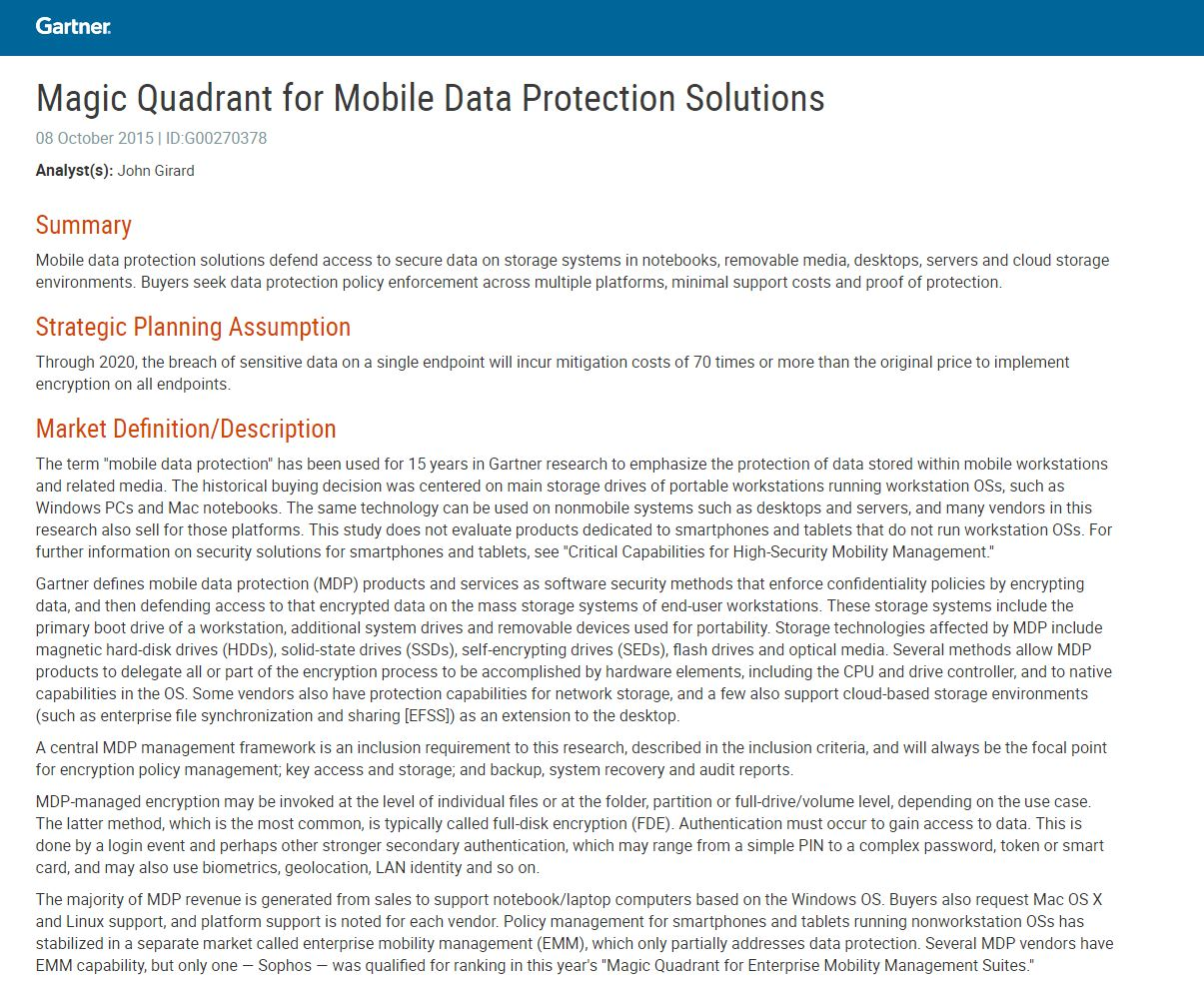 Magic Quadrant for Mobile Data Protection Solutions