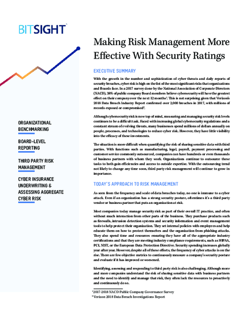 Making Risk Management More Effective with Security Ratings