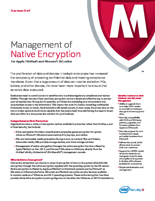Management of Native Encryption for Apple FileVault and Microsoft BitLocker