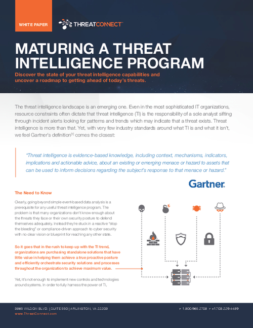 Maturing a Threat Intelligence Program