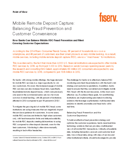 Mobile Remote Deposit Capture: Balancing Fraud Prevention and Customer Convenience