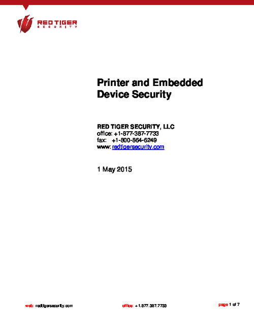 Networked Printer Security Threats are on the Rise