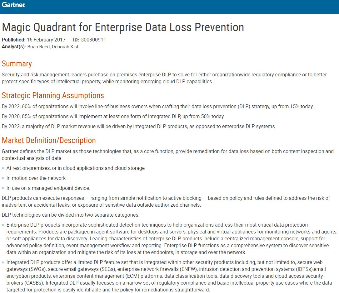 The New 2017 Gartner Magic Quadrant for Enterprise Data Loss Prevention