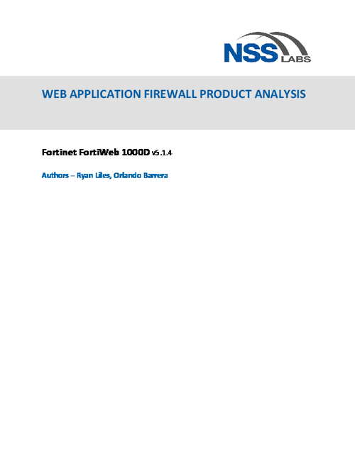 NSS Labs  - A Web Application Firewall Product Analysis