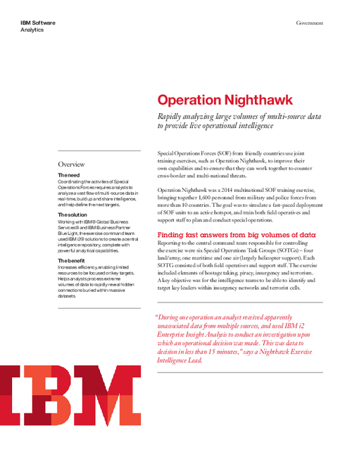 Operation Nighthawk: Finding Fast Answers from Big Volumes of Data