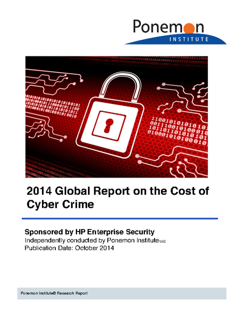 Ponemon Results: 2014 Cost of Cyber Crime
