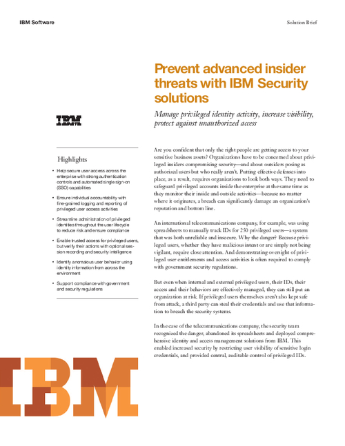 Prevent Advanced Insider Threats With IBM Security Solutions