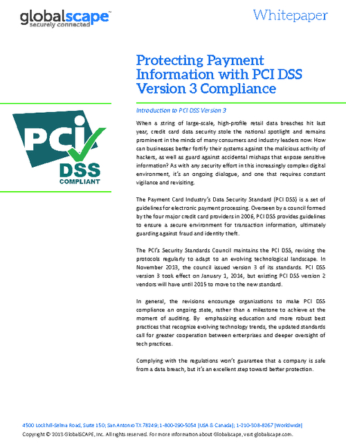 Protecting Payment Information with PCI DSS Version 3 Compliance